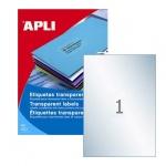 Этикетки прозрачные Apli 1225, 210х297мм, 20шт