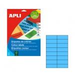 Этикетки цветные Apli 1596, 105х37мм, 320шт, голубые