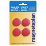 Магниты Magnetoplan Standart d=30х8мм, 4шт/уп, красные