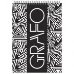 Блокнот Графо, А6, 50 листов, в клетку, на спирали, картон