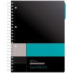 Тетрадь Smartbook серо-бирюзовая, А4, 120 листов, в клетку, на спирали, пластик