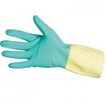 Перчатки защитные Ansell Бай Колор р.8.5-9, латекс и неопрен, зеленые с желтым