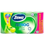 Туалетная бумага Zewa Плюс зеленое яблоко, зеленая, 2 слоя, 8 рулонов, 184 листа, 23м