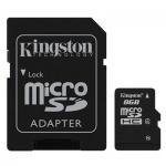 Карта памяти Kingston micro SDHC, 4мб/с, с адаптером SD, 8Gb