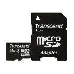 Карта памяти Transcend micro SDHC, 16Gb, 4мб/с, с адаптером SD