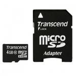 Карта памяти Transcend micro SDHC, 20мб/с, с адаптером SD, 4Gb