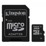 Карта памяти Kingston micro SDHC, 4мб/с, с адаптером SD, 32Gb