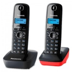 Радиотелефон Panasonic KX-TG1612RU3 серый/красный, 2 трубки