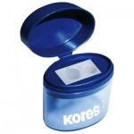 Точилка Kores 2 отверстия, с контейнером, с крышкой, ассорти