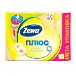 Туалетная бумага Zewa Плюс ромашка, желтая, 2 слоя, 12 рулонов, 184 листа, 23м