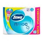 Туалетная бумага Zewa Плюс без аромата, белая, 2 слоя, 12 рулонов, 184 листа, 23м