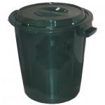 Бак для мусора М-Пластика 60л, зеленый, с крышкой, М 2393
