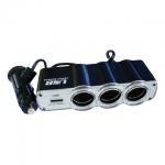 Разветвитель в гнездо прикуривателя Supra SCP 1-4U на 3 гнезда, 12В/24В, USB