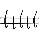 Вешалка настенная Sheffilton Стандарт, черная, 5 крючков, 280х600х110мм
