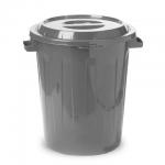 Бак для мусора М-Пластика 60л, серый, с крышкой, М 2393