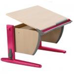 Парта школьная Дэми СУТ.14, ЛДСП, клен, каркас розовый, 750х550х530-815мм, регулируемая