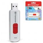 Флеш-накопитель Transcend JetFlash 500, 4Gb, бело-красный