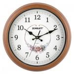 Часы настенные Scarlett SC-25Q бело-коричневые, d=30см, круглые