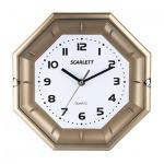 Часы настенные Scarlett SC-55QZ бело-золотые, d=25см, восьмигранные