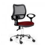 Кресло офисное Chairman 450 ткань, красная, TW, крестовина хром
