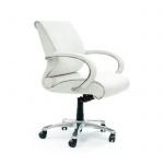 Кресло руководителя Chairman 444 нат. кожа, белая, крестовина хром