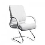 Кресло посетителя Chairman 445 нат. кожа, белая, на полозьях
