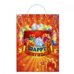 Пакет подарочный Happy Birthday 24х8.5х34см, красный, DFR/599194