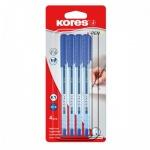 Набор ручек шариковых Kores К2/К1 синяя, 0.7мм, 4шт