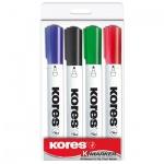 Маркер для досок Kores набор 4 цвета, 2-5мм, круглый наконечник, cap off, 20843