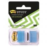 Клейкие закладки пластиковые Post-It Study голубой, 25х38мм, 22шт, 680-BB-LEU
