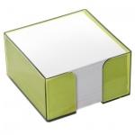 Блок для записей непроклеенный в подставке Стамм в боксе цвета лайм, 90х90мм
