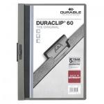 Пластиковая папка с клипом Durable Duraclip, А4, до 60 листов, темно-серая