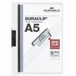 Пластиковая папка с клипом Durable Duraclip plus белая, А5, до 30 листов, 2217-02