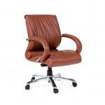 Кресло руководителя Chairman 444 нат. кожа, коричневая, крестовина хром