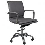 Кресло руководителя Бюрократ CH-993-Low иск. кожа, серая, крестовина хром, низкая спинка
