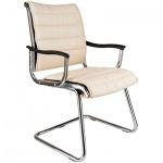 Кресло посетителя Бюрократ CH-994AV иск. кожа, белая, на полозьях