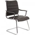 Кресло посетителя Бюрократ CH-994AV иск. кожа, черная, на полозьях