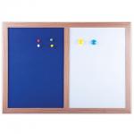 Доска комбинированная Brauberg 231995 34.2x48.4см, белая/ синяя, лаковая/ текстильная, магнитная маркерная, деревянная рама