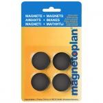 Магниты Magnetoplan Standart d=30х8мм, 4шт/уп, черные