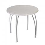Стол для кафе Дебют Страйк пластик, светлый мрамор, каркас металл, серебристый, диаметр 800 мм