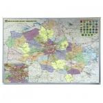 Карта настенная Magnetoplan Ferroscript Московской области, 120х80см, алюминиевая рама, магнитно-маркерная