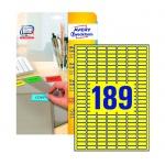 Этикетки удаляемые Avery Zweckform L6037-20, желтые, 25.4x10мм, 189шт на листе А4, 20 листов, 3780шт, для всех видов печати