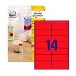Этикетки удаляемые Avery Zweckform L7263R-25, красные неоновые, 99.1x38.1мм, 14шт на листе А4, 25 ли