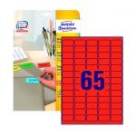 Этикетки удаляемые Avery Zweckform L4790-20, красные, 38.1x21.2мм, 65шт на листе А4, 20 листов, 1300