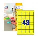 Этикетки удаляемые Avery Zweckform L6041-20, желтые, 45.7х21.2мм, 48шт на листе А4, 20 листов, 960шт