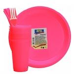 Наборы одноразовой посуды Aro красный, на 10 персон