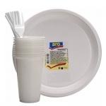 Наборы одноразовой посуды Aro белый, на 10 персон