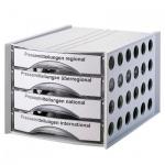 Бокс для бумаг Helit Economy 324х396х324мм, 4 ящика, серый, 6129202