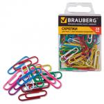 Скрепки канцелярские Brauberg 28мм, овальные, 100шт/уп, пластиковая коробка