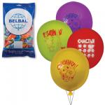 Воздушные шары Веселая Затея поздравления 12 цветов, 30см, 50шт, в пакете, 1103-0077
